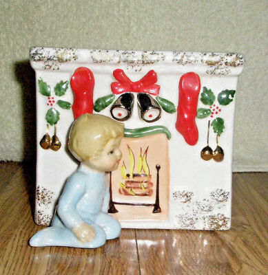 Vtg NAPCO Figural Porcelain Holiday Planter Boy Sits at Fireplac Stockings S476A