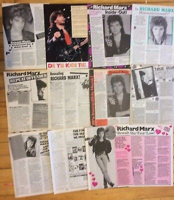 Richard Marx, Lot of TEN Full and Two Page Vintage Clippings