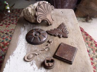Mixed Lot of 5 Small Antique Fancy Carved Wood Pediments