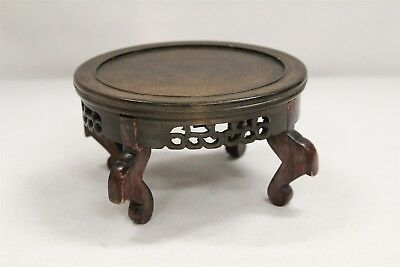 Vintage Chinese Hardwood 4 Legged Skirted Tabled Carved Display Stand