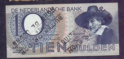 10 Gulden From Netherland With Overprint 1944 xf