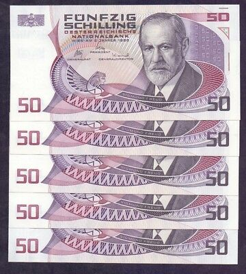 50 Schillings From Austria 1986 Unc 5 Pcs With Consecutive Numbers