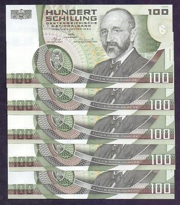 100 Schillings From Austria 1984 Unc 5 Pcs With Consecutive Numbers