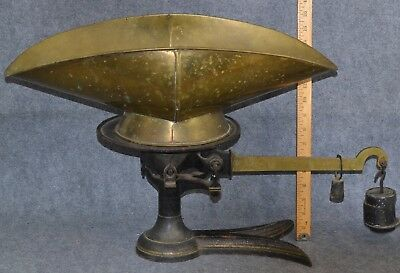 scale balance crow foot cast iron brass Fairbanks beam bucket store lg weights