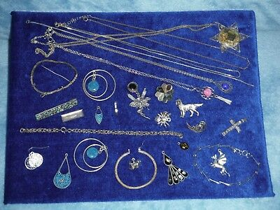 Job Lot Of Assorted Vintage Broken Jewellery Silver For Spares/repair/harvest