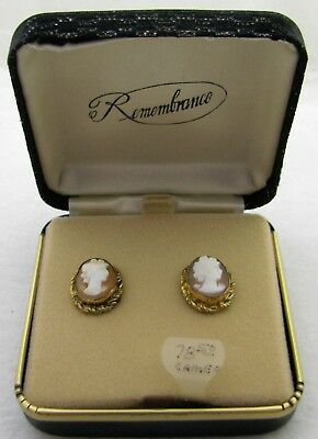 Vintage Nos Pair Of Remembrance 14K Gold Filled Cameo Earrings W/orig Case