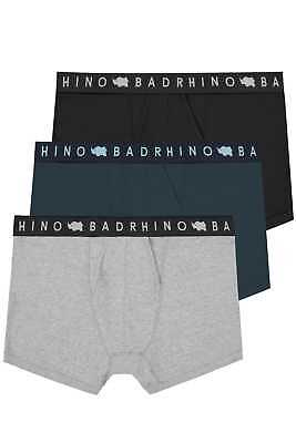 Mens 3 Pack Badrhino Black, & Grey Marl Elasticated A Front Boxers Extra Large L
