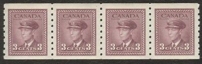 Stamps Canada # 266, 3¢, 1946, 1 strip of 4 MNH Coil stamps