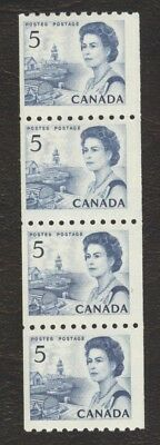 Stamps Canada # 468, 5¢, 1967, 1 strip of 4 MNH coil stamps.