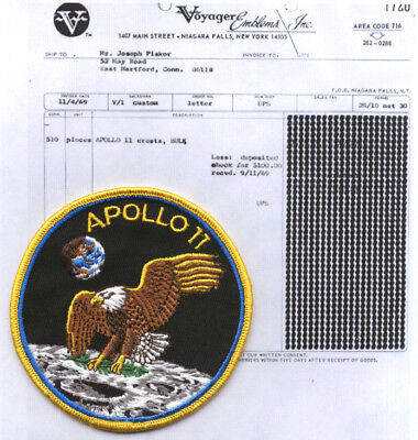 "1969 Apollo 11 4"" patch & bill of sale as COA original"