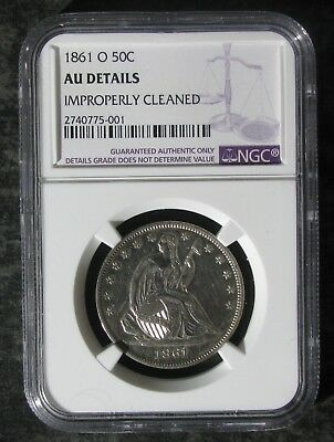 1861-O NGC AU Detail Seated Liberty Silver Half Dollar Coin - No Reserve