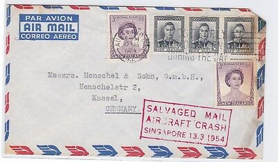 New Zealand to Germany 1954 with mark salvaged mail aircraft crash Singapore