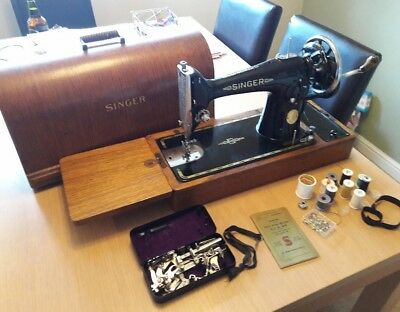 Vintage SINGER Hand Crank Sewing Machine 201K .CASED.EXTENSION TABLE PLUS MORE