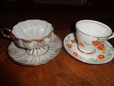 """PAIR Vintage """"Bone China Phoenix and Royal Sealy Cups & Saucers"""""""