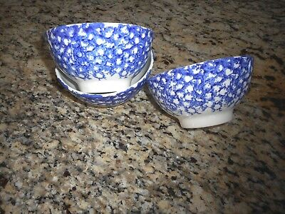 "Roma Italy 3 Spongeware Bowls Blue And White 5 1/2"" X 2 3/4""  Made In Italy"