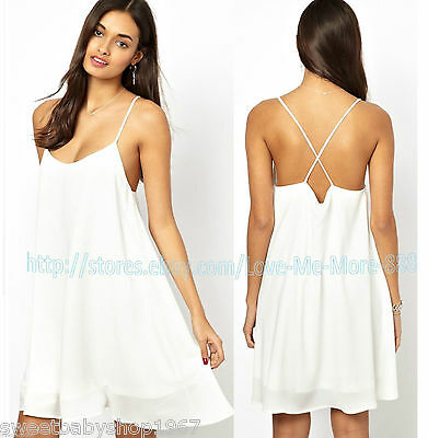 Sexy Summer Club Party Casual Spaghetti Strap Open Back Swing Dress WHITE Large