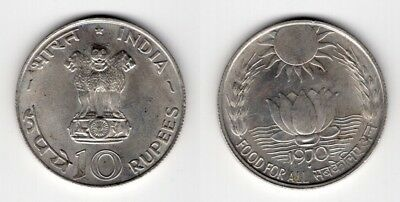INDIEN   10 Rupees 1970   Food For All   F.A.O   Silber   #380