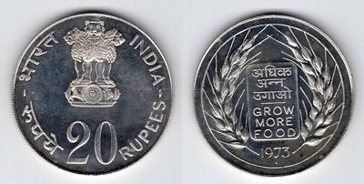 INDIEN   20 Rupees 1973   Grow More Food   F.A.O   Silber   #384