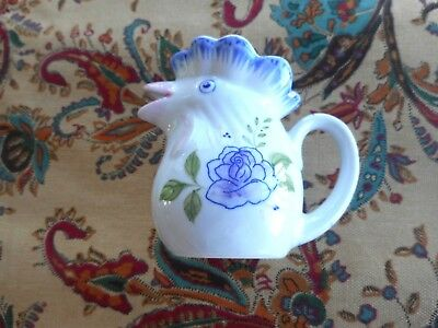 Small Rooster Creamer Porcelain With Flowers