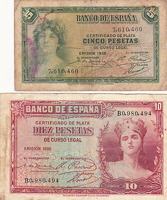 5&10 Pesetas Vg-Fine Banknotes From Spain 1935!pick-85-86