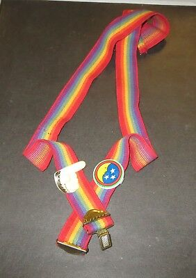 """VINTAGE  Mork and Mindy Rainbow Suspenders Youth 30"""" with finger and moon!"""