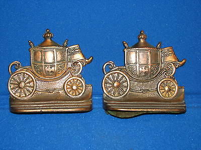 2 WH Howell Company Brass Metal Bookends Carriage Cast Vintage Old Set Pair