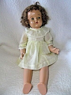 """Composition Doll with Cloth Body, original brown mohair wig, sleep eyes, 24"""""""