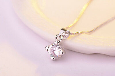 "Shiny Solid 925 Sterling Silver Small 6mm Round CZ Pendant 17.7"" Chain Necklace"