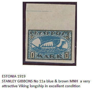 ESTONIA 1919 VIKING DRAKAR SHIP ST GIBBONS 11a Blue & Brown POSTAGE STAMP EXC