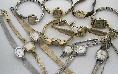 Lot Of 12 Vintage Art Deco Gold Filled Ladies Wristwatch Watch Parts Repair