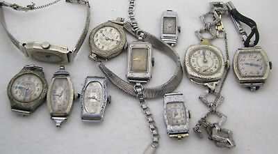 Lot Of 10 Vintage Art Deco Gold Filled Ladies Wristwatch Watch Parts Repair