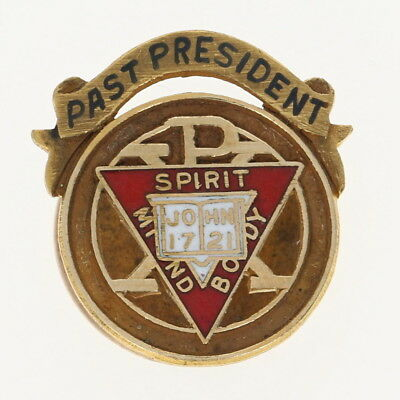 YMCA Chi Rho Past President Pin - 10k Gold Spirit Mind Body Member Collectible