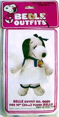 """1980 Peanuts Snoopy's Sister BELLE TENNIS OUTFIT #9084 for 10"""" PLUSH - MIP"""
