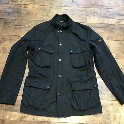 Men's Barbour International Black Waxed Lockseam Casual Jacket Medium