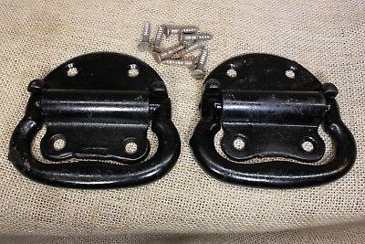 """2 Tool Box 4"""" drop Handles large chest trunkPulls old rustic paint iron chest"""
