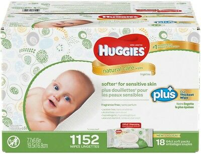 Huggies Natural Care Plus Baby Wipes 1,152-count Box (18 x 64 ct soft packs)