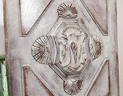 SHABBY CARVED WOOD PANEL ANTIQUE FRENCH GOTHIC SHELL SALVAGED CARVING 19 th b