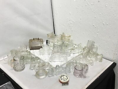 Lot o 24 Vintage Glass Candy Containers Suitcase Luggage West Bros Ladder Truck