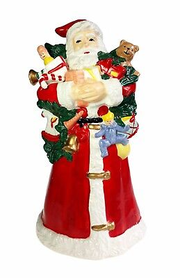 Holiday Figural Music Box Here Comes Santa Claus w Presents Hand Painted Ceramic