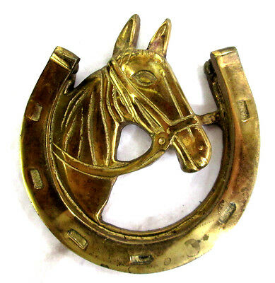 """Door Knocker Horse Head and Horseshoe Solid Brass Vintage 3.5""""wide x 3.75""""tall"""