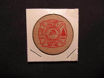 Saugerties, New York Wooden Nickel token - C.A. Lynch Hose Co. #2 Wood Coin RED