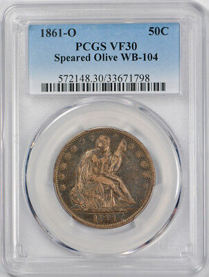 1861-O 50C Speared Olive WB-104 Liberty Seated Half Dollar PCGS VF 30
