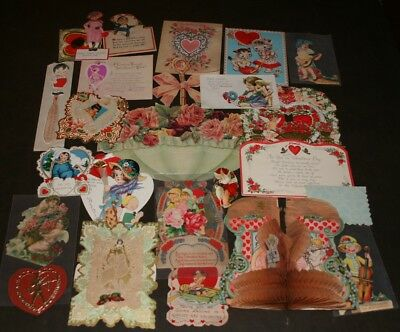 Lot Of 24 Antique & Vintage Valentines Day Cards - Very Ornate