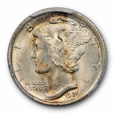 1924 10C Mercury Dime PCGS MS 65 FB Full Bands Uncirculated Toned Coin