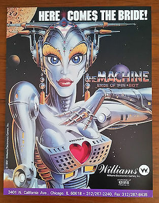 Original WILLIAMS - THE MACHINE BRIDE OF PINBOT Pinball Flyer - FREE SHIPPING