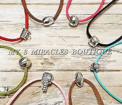 SPORTS NECKLACE Suede Leather Teen Boys Girls Kids Coach Team Mom Birthday Gift