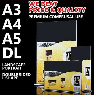 A3 A4 A5 DL Sign Holder Double Sided Retail Display Stands Menu Acrylic L