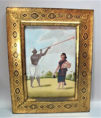 Very Rare Early 19th C. INDIAN EXPORT PATNA Painting w/ Original Frame  c. 1820