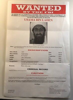 Wanted By FBI Original Poster Usama Bin Laden (Osama) for Murder of US Nationals