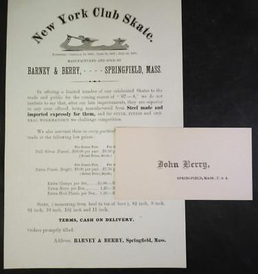 1867 New York Skate Club Ice Skates Pamphlet and Business Card